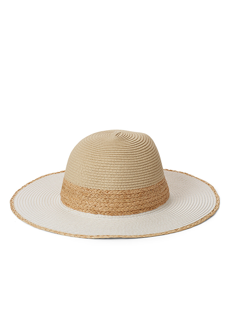Canadian Hat Cream Beige Braided accent straw hat for women