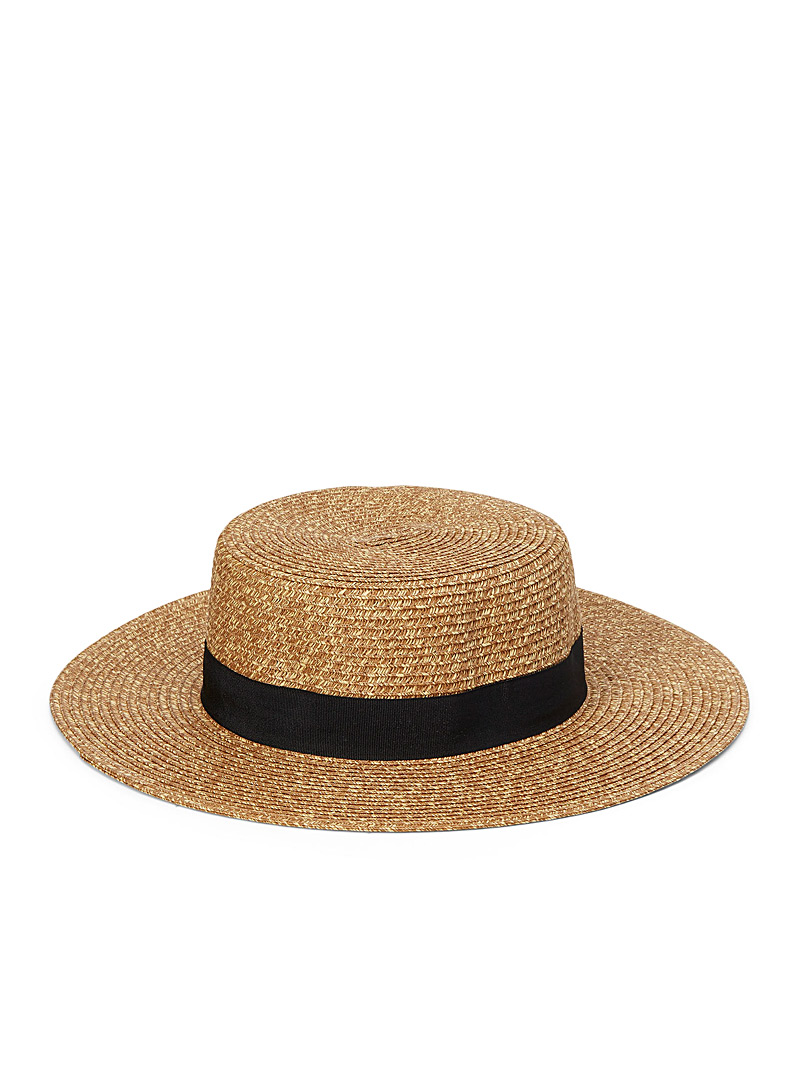 Canadian Hat Light brown  Ebony band boater for women