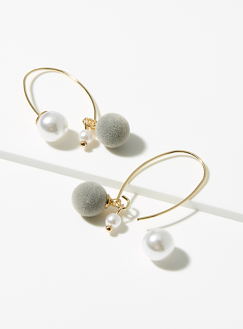 Simons Assorted Pearl and pompom earrings for women
