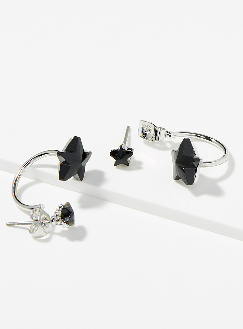 Black star earrings - Earrings - Black