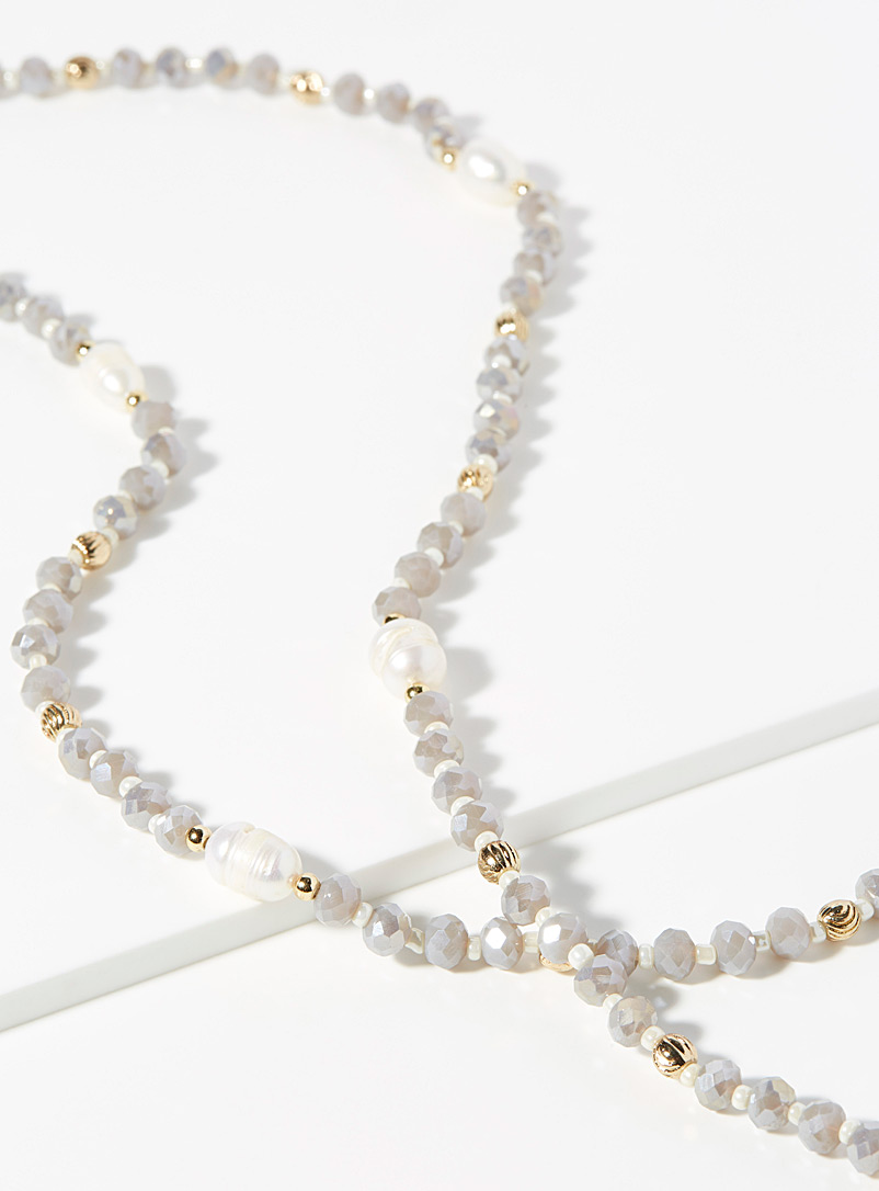 Simons Charcoal Pastel pearl necklace for women