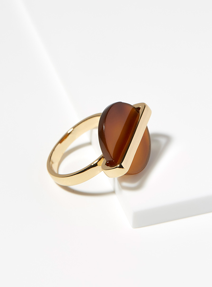 Amber disc ring - Rings - Patterned Brown
