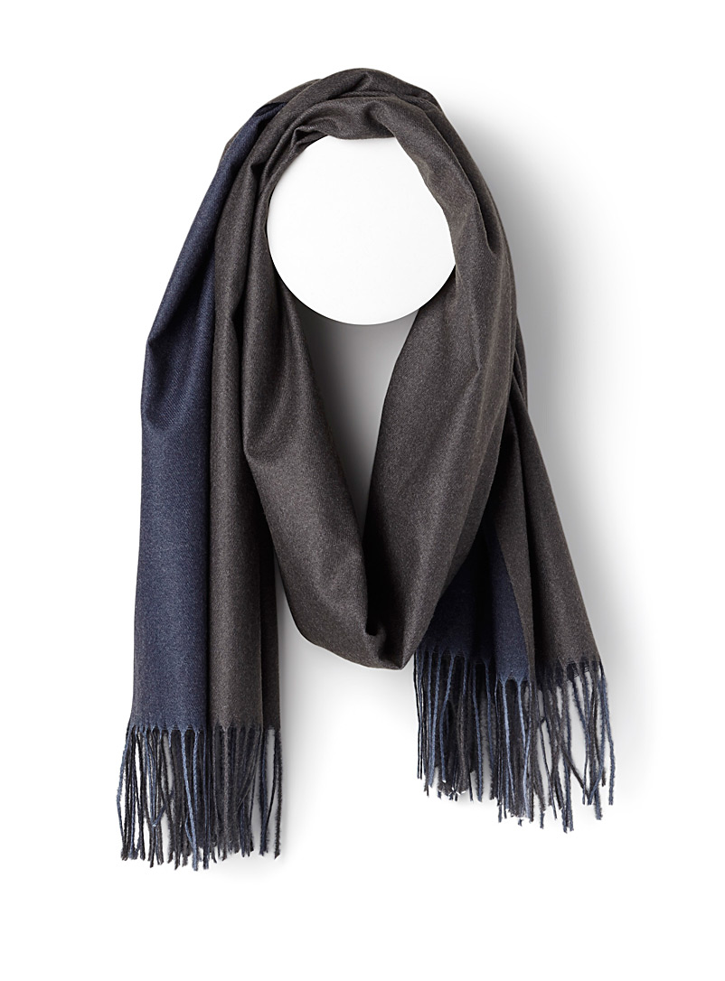 Simons Grey Faux-pashmina scarf for women