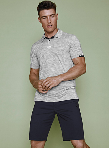 Heathered stripe ergonomic polo