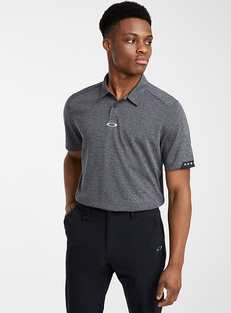 Oakley Patterned Grey Elipse micro perforated polo for men