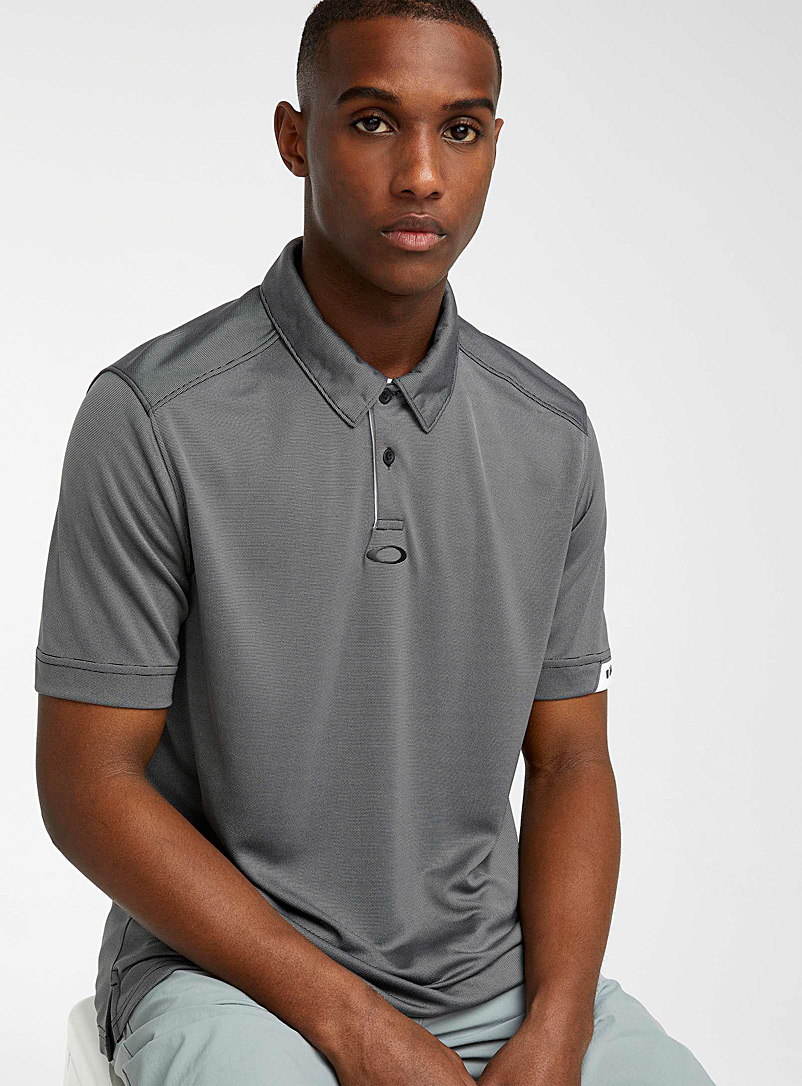 Oakley Charcoal Gravity heathered microfibre polo for men