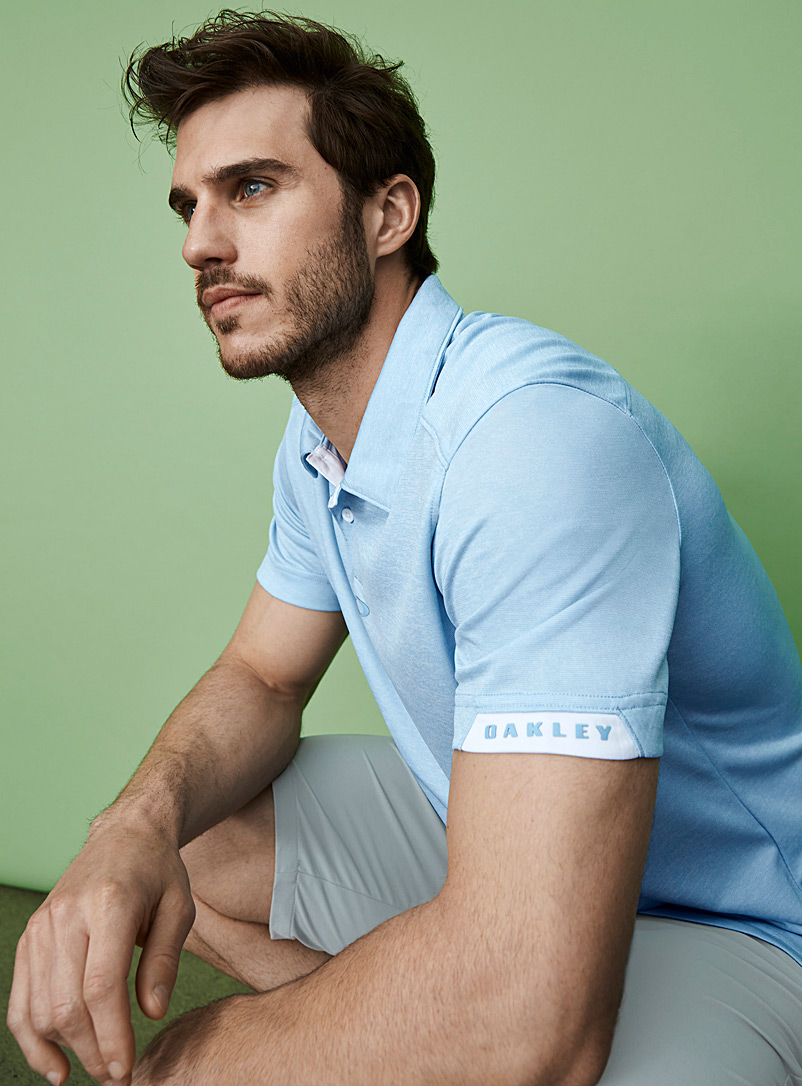 Oakley Baby Blue Gravity heathered microfibre polo for men