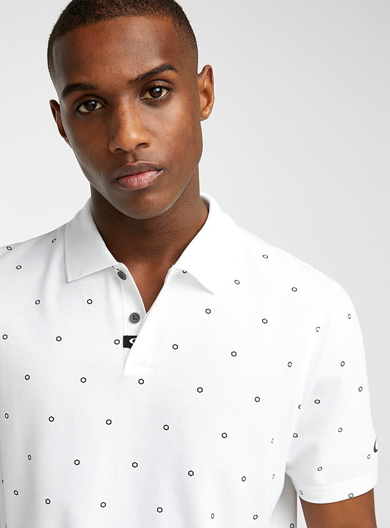 Oakley White Hexagon-dot piqué polo for men