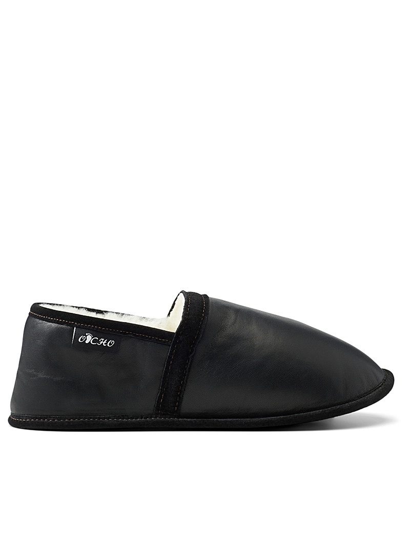Le 31 Black Shearling leather slippers  Men for men