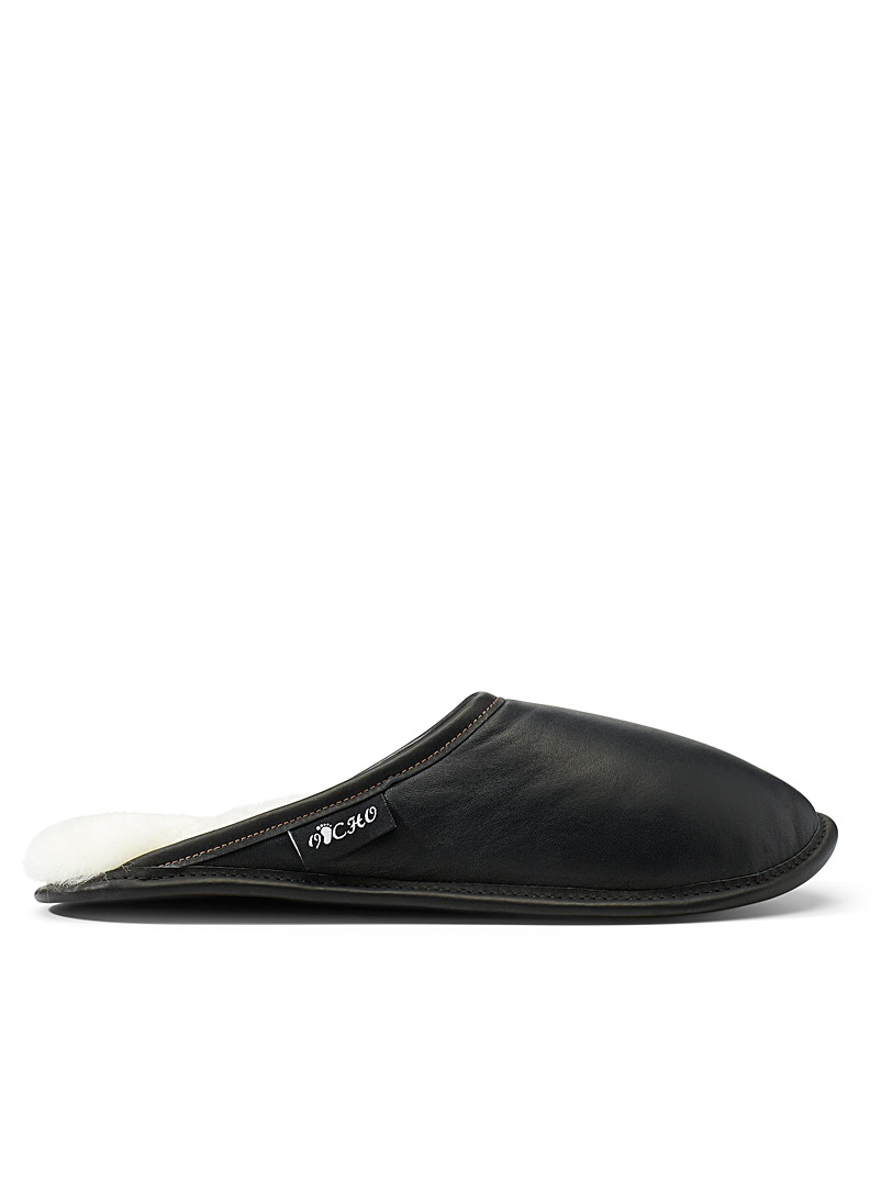 Le 31 Black Shearling mule slippers  Men for men