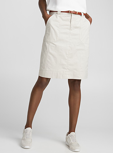 Belted stretch cotton skirt