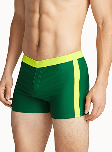 Athletic-stripe fitted swim trunk