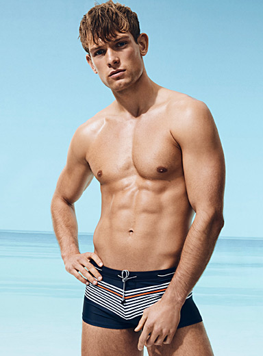 Nautical stretch boxer swim trunk