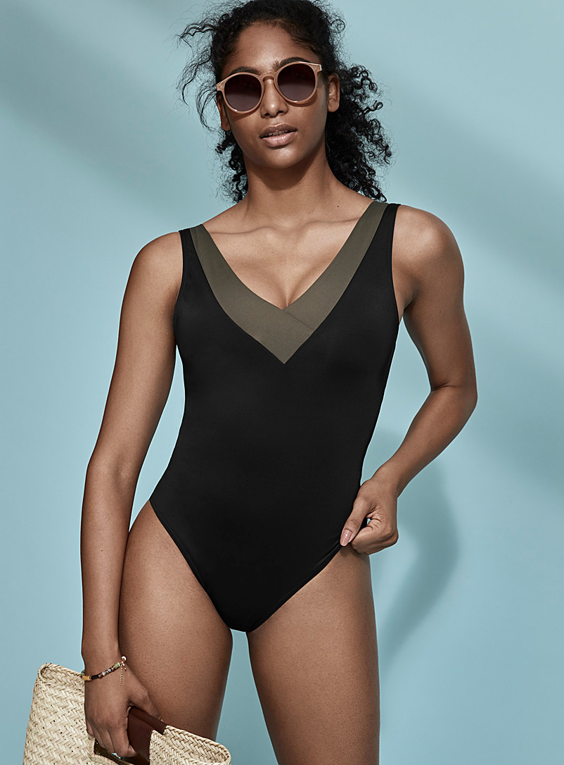Simons Black Contrast neckline one-piece for women