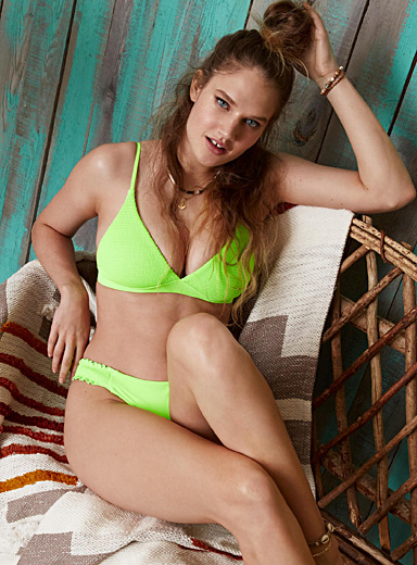 Simons Green Pure neon embossed triangle bralette for women