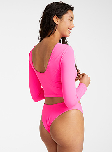 Simons Pink High-cut pure neon tanga bottom for women