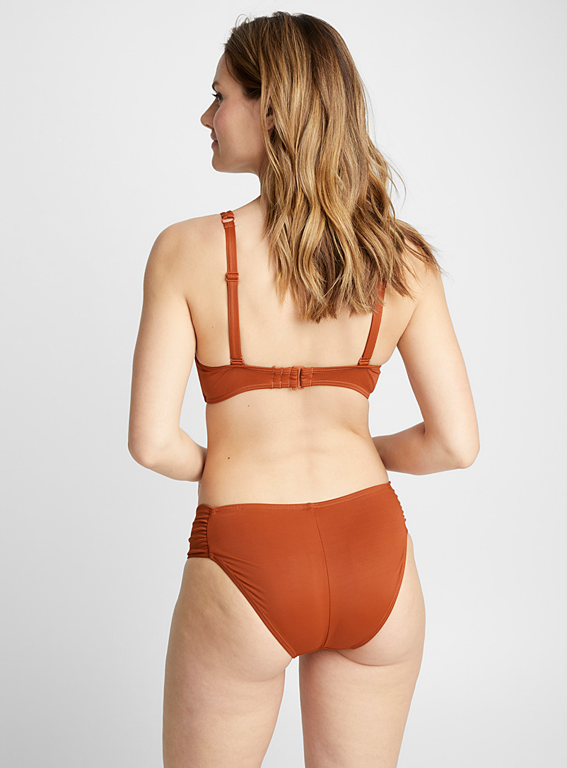 Pleated-waist bottom - Bikini - Copper
