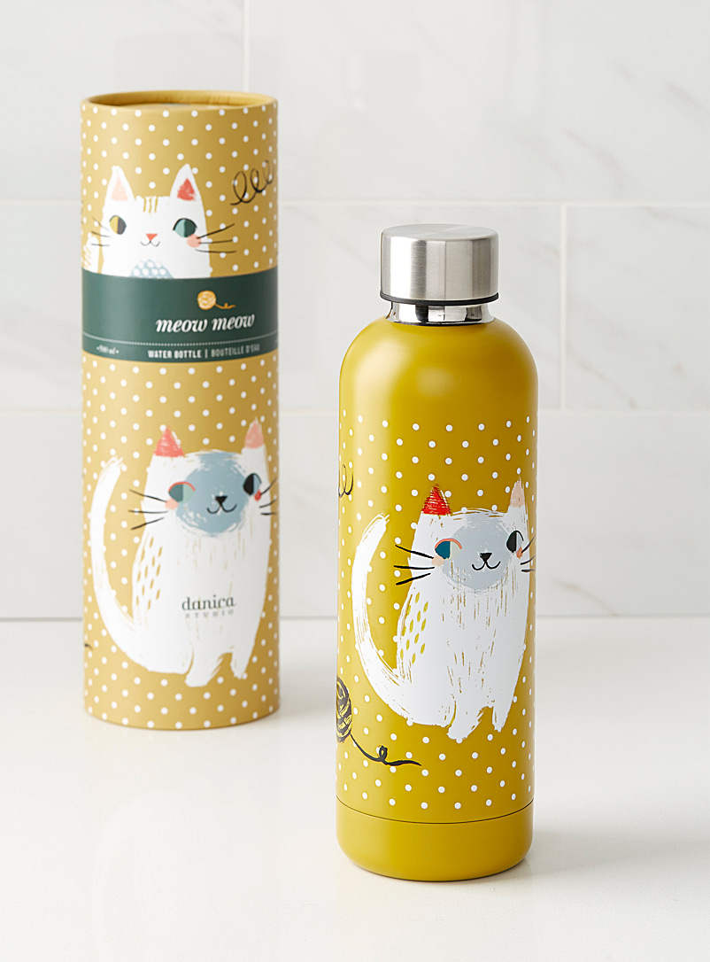Danica Medium Yellow Playful cat water bottle