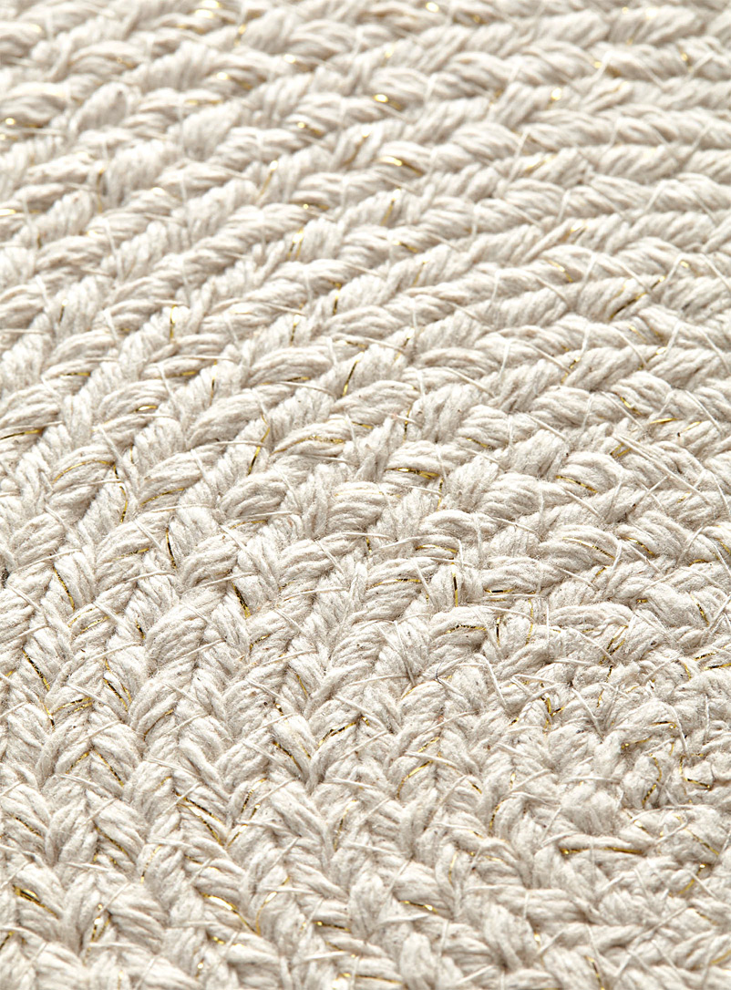 Golden threads braided placemat - Fabric - Ivory White