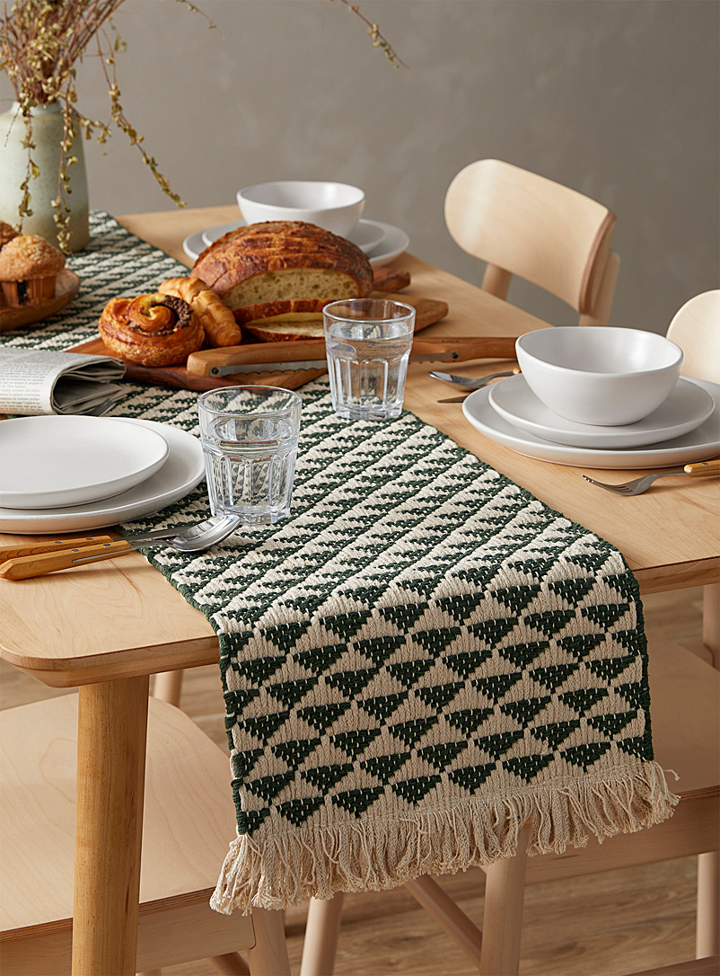 "Danica Green Jade heirloom weave table runner 13"" x 72"""