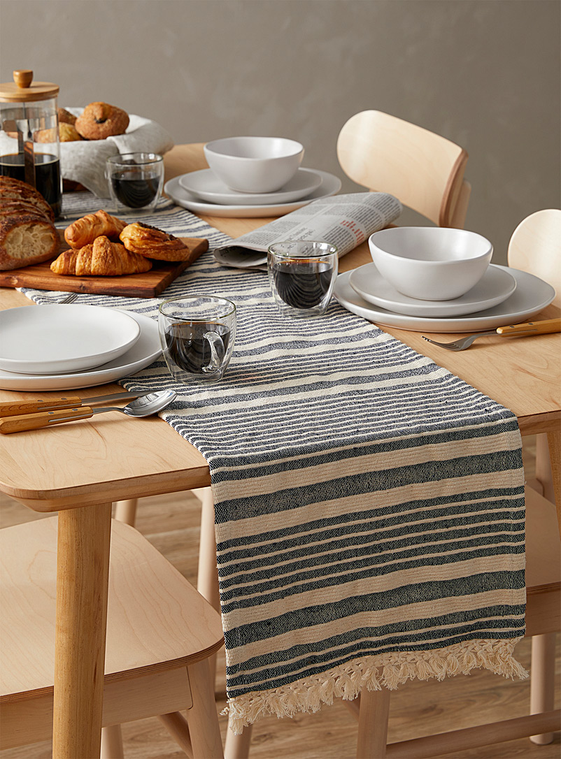 Danica Patterned White Knotted fringe heirloom weave table runner 13 x 72 in