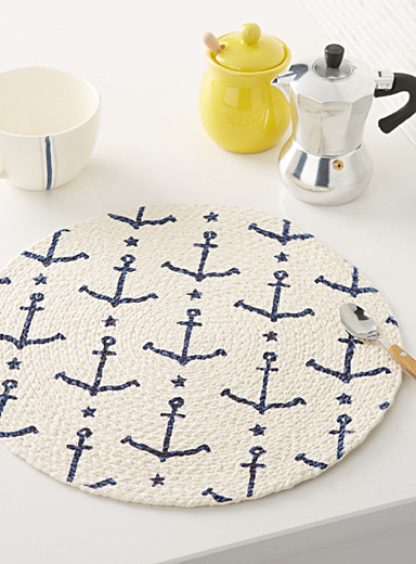 Navy anchor braided place mat