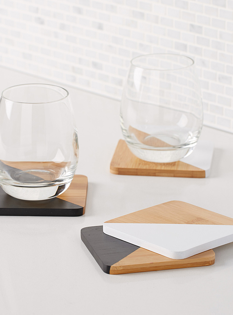 Black & white angle coasters  Set of 4