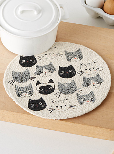Kitten braided cotton trivet