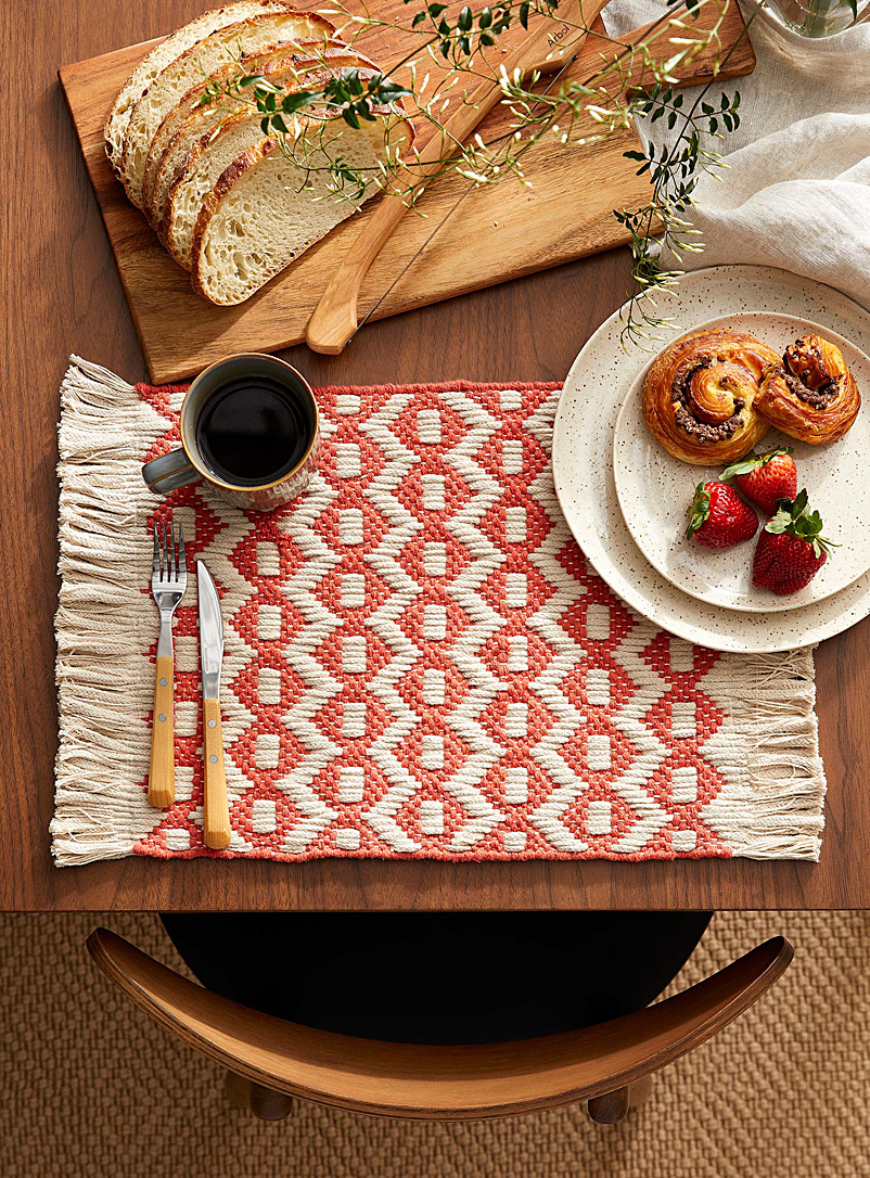Danica Copper Terracotta heirloom weave placemat