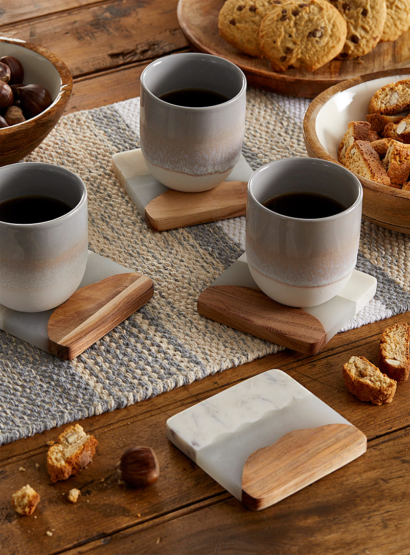 Danica Assorted Marble wood-effect coasters Set of 4