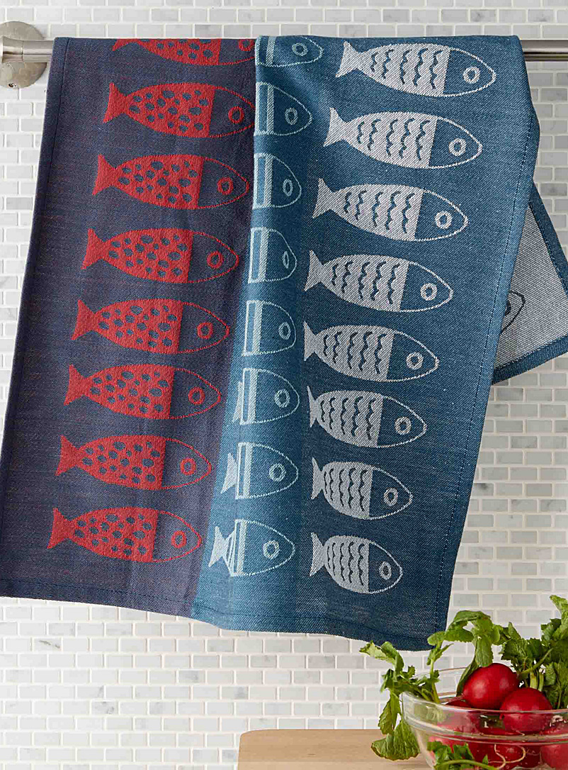 Danica Patterned Blue Fishing trip tea towel