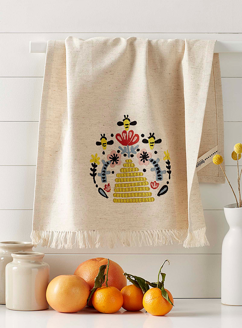 Danica Patterned Ecru Embroidered beehive tea towel