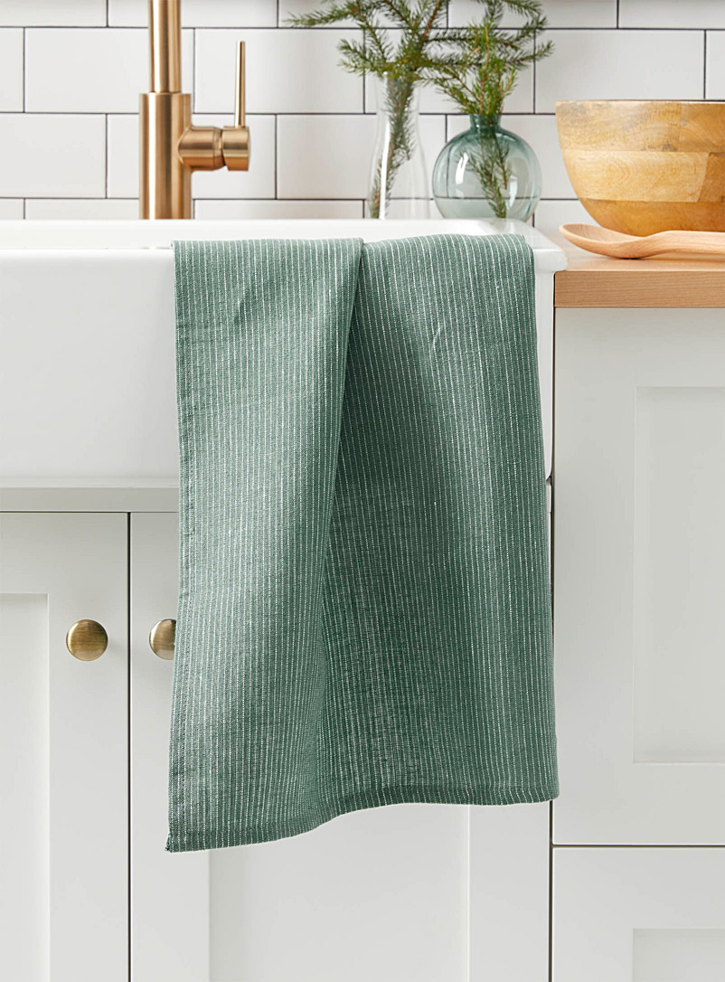 Danica Green Jade stripe pure linen tea towel