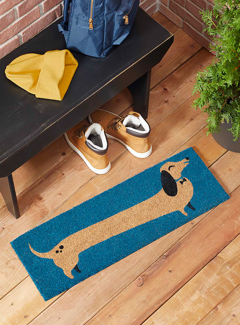 Danica Patterned Blue Elegant dachshund small doormat  25 x 76 cm