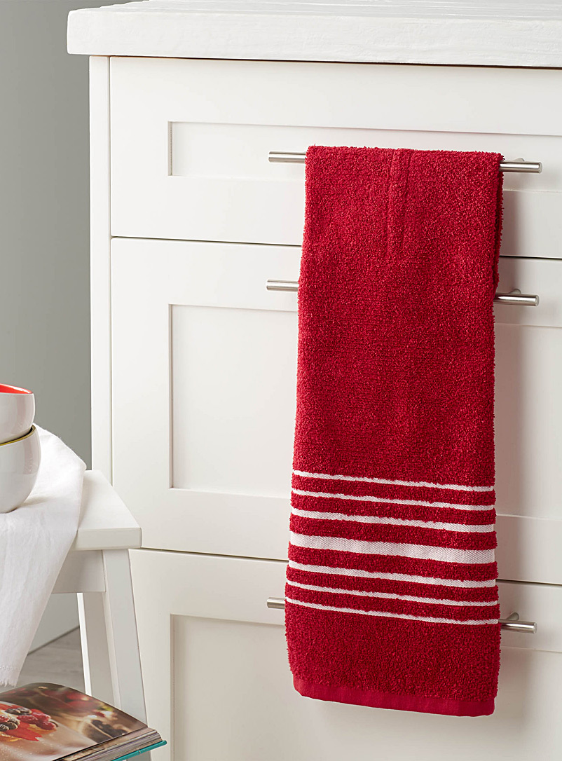 Danica Red Block-stripe hang-up towel