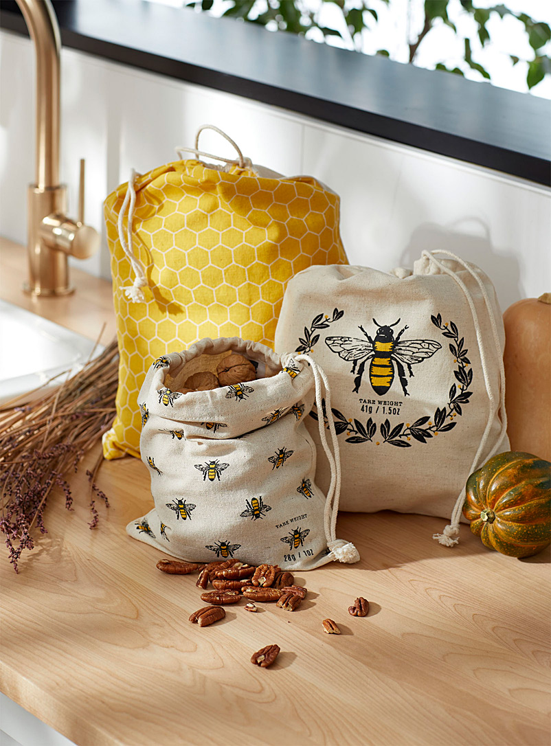 Foraging bees reusable produce bags  Set of 3