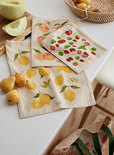 Fruity flavours reusable produce bags Set of 3