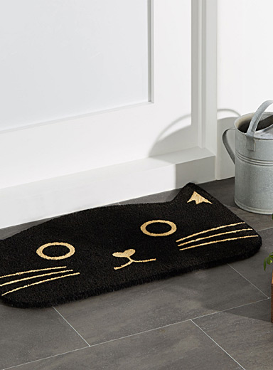 Black cat doormat <br>18