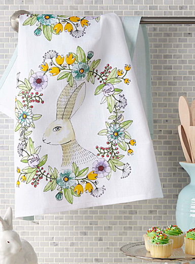 Rabbit portrait tea towel