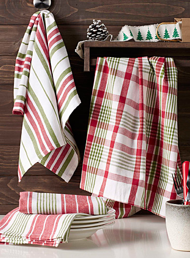 Oversized holiday check tea towels  Set of 3