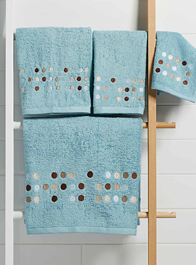 Embroidered polka dot towels