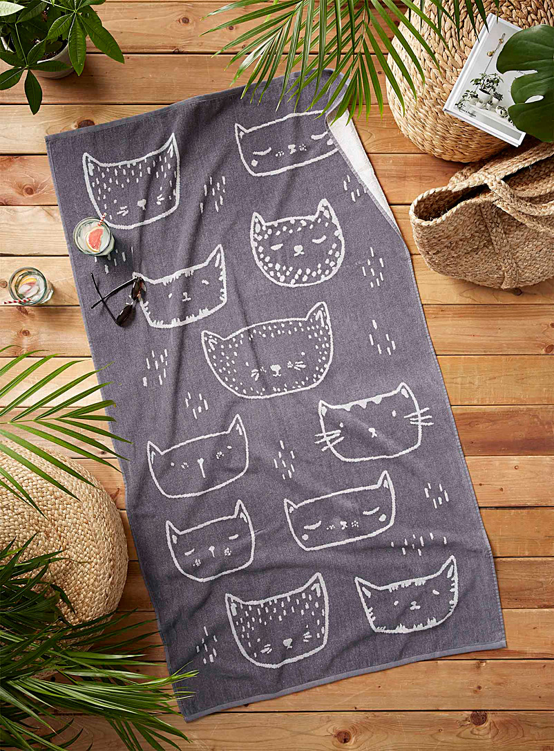 Simons Maison Patterned Grey Purring kittens beach towel  86 x 160 cm