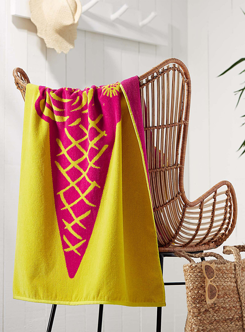 Summercone beach towel  86 x 160 cm - Bath Sheets & Beach Towels - Patterned Yellow