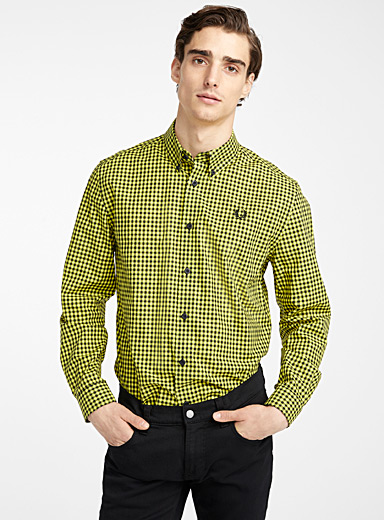 Fred Perry Golden Yellow Neon gingham shirt for men