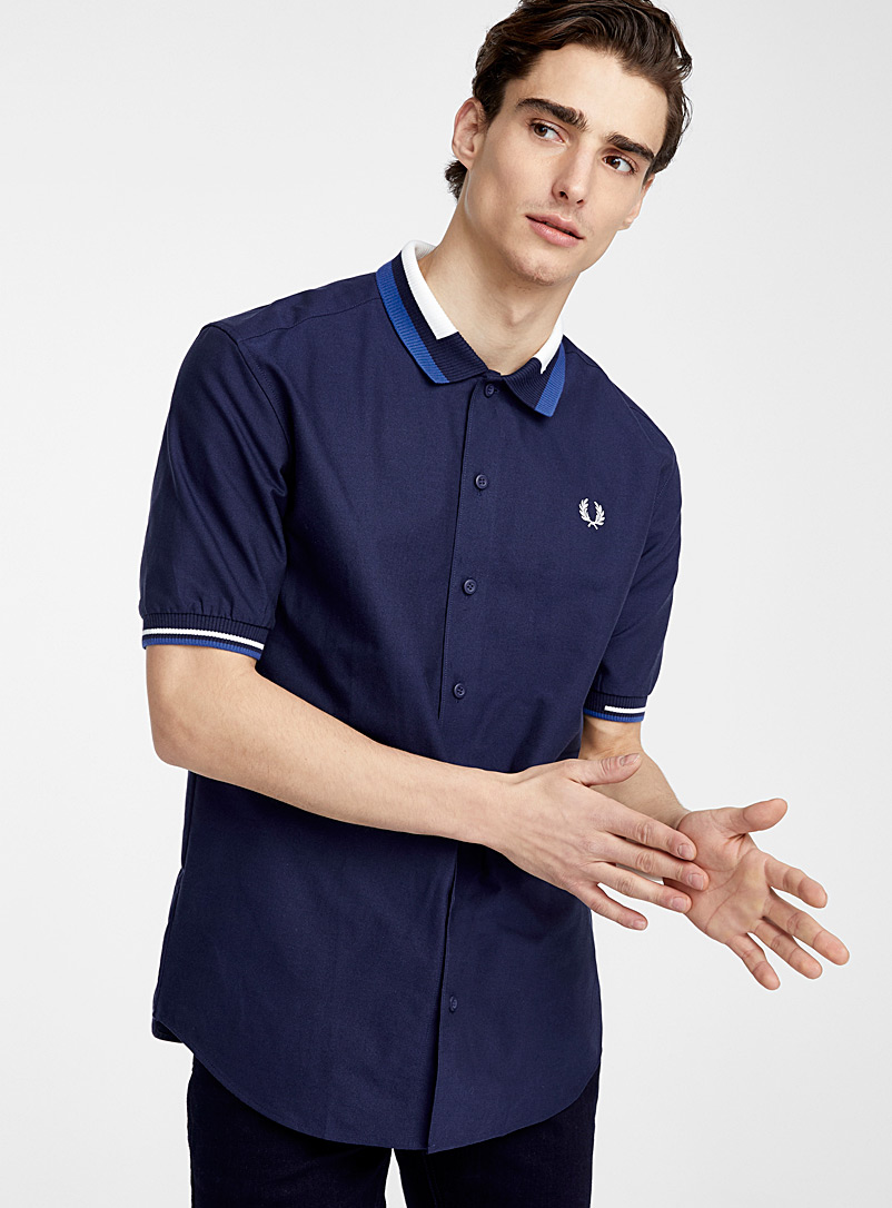 Fred Perry Black Knit collar shirt for men