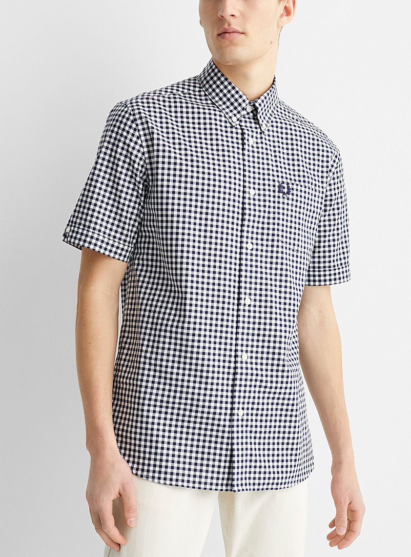 Fred Perry Blue Two-tone gingham shirt for men