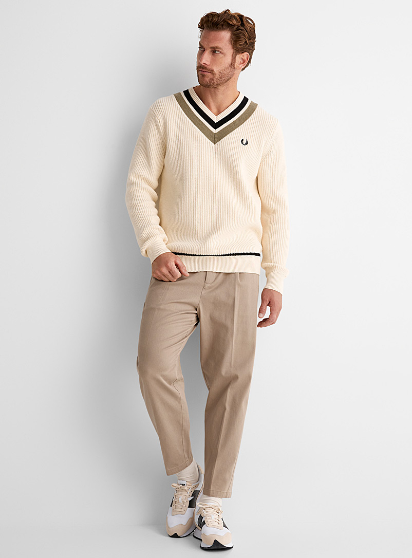 Fred Perry Ivory White Preppy sweater for men