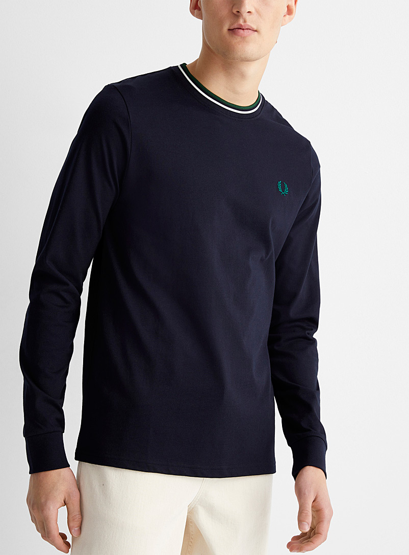Fred Perry Marine Blue Striped ribbed collar T-shirt for men