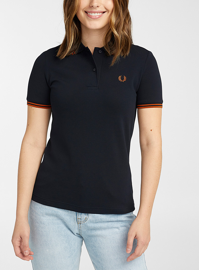 Fred Perry Marine Blue Orange stripe polo for women