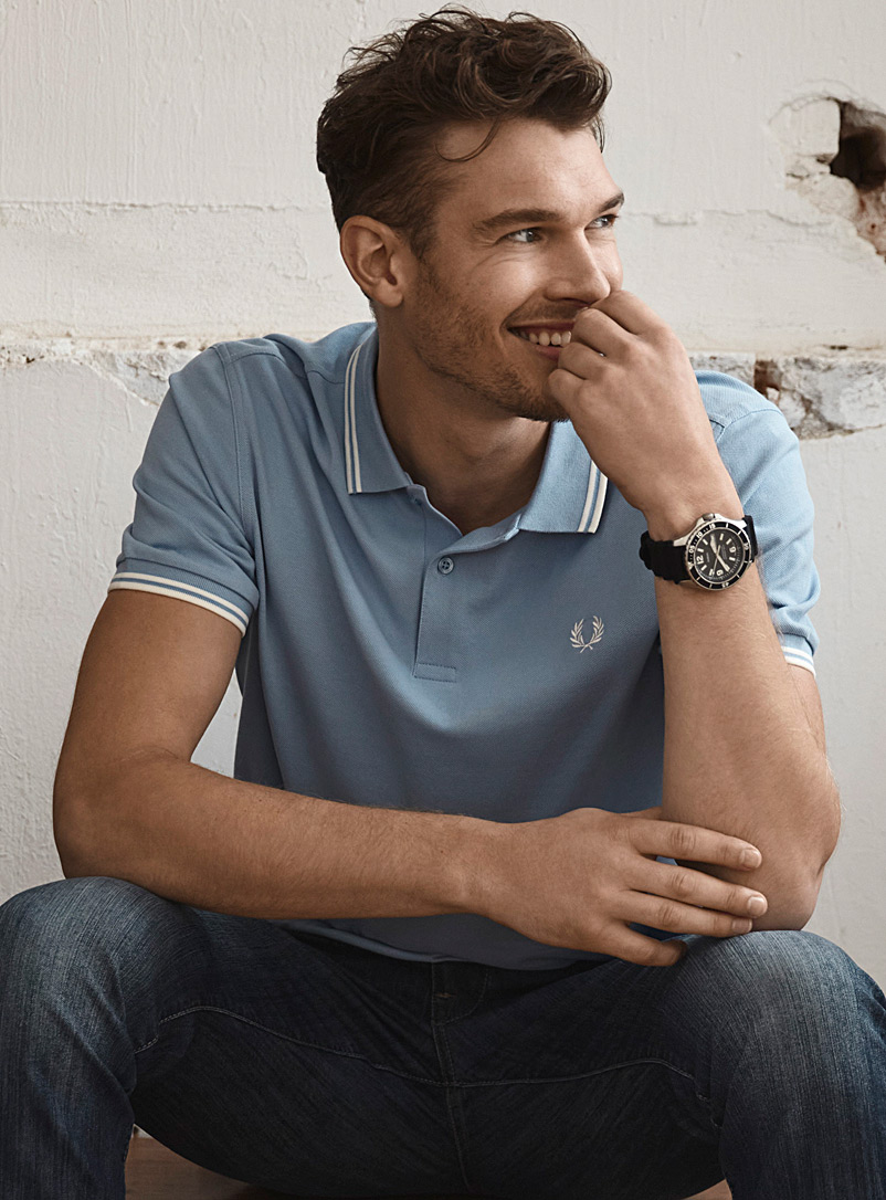Fred Perry Slate Blue Perry logo polo for men